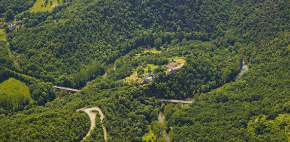 The gorges of Aveyron, seen from the sky